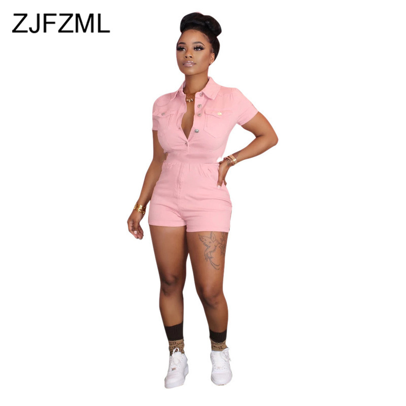 Sexy Buttons Playsuit Women Turn Down Collar Bodycon Short Jumpsuit 2020 Causal Elegant Short Sleeve One Piece Bandage Romper