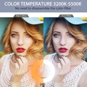 Image 3 - Capsaver 14 cali lampa pierścieniowa lampa pierścieniowa led Makeup Light Selfie lampa pierścieniowa z stojak z uchwytem na telefon do Youtube zdjęcie wideo