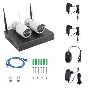 2 шт., беспроводная 4-канальная NVR Камера видеонаблюдения, 2 шт., Wi-Fi, IP