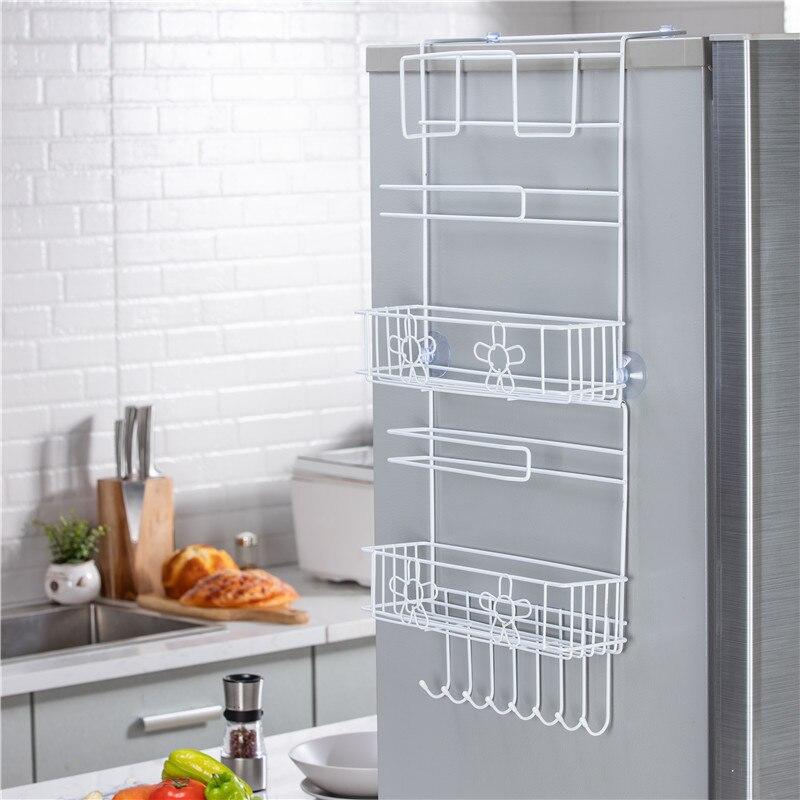 Estante de almacenamiento lateral multifunción para refrigerador estante organizador de múltiples capas, gancho colgante multiusos para el hogar, soporte plegable