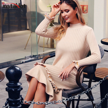 InstaHot Solid Sweater Dress Elegant O-neck Cable Knitted Women Pullover Ruffles Sleeve Autumn Winter Outwear Dresses 2019 New