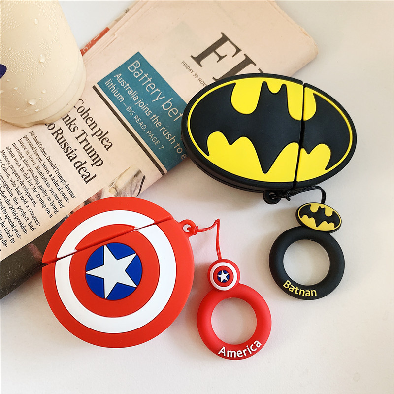 Captain America Batman Case For AirPods 2 Case Cute Cartoon Earphone Soft Silicone Case For Airpods Cover Funda