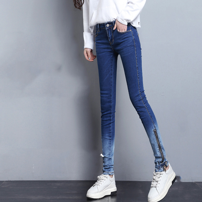 Woman Jeans High Waist Skinny Pencil Pants Korean Style Gradient Color Office Lady Elastic Slim Female Long Pants 2020 Fashion