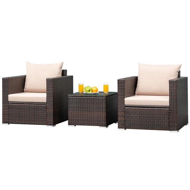 3PCS Patio Rattan Furniture Conversation Set  1