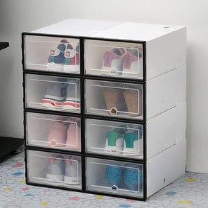 Image 5 - 6pc caixas de armazenamento caixa de sapato Transparente engrossado caixa organizador sapatos à prova de poeira pode ser sobreposto combinação armário da sapata