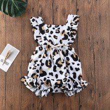 Newborn Baby Girl Clothes Summer Leopard Ruffle Romper Sleeveless Jumpsuit One Piece Outfits Infant bebes