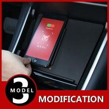 Drahtlose Ladegerät Bord Mobile Auto Schnelle Lade Dual Port Ladegerät für Tesla Modell 3 Zubehör Drahtlose aufladen funktion