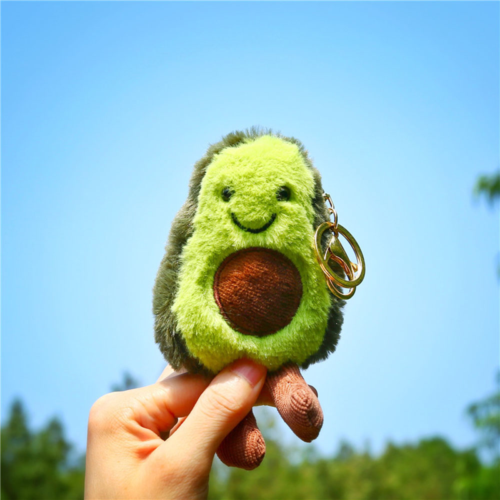 Cute Avocado Shaped Keychain Fruits Plush Toy Filled Doll Key Ring Cartoon Child Christmas Gifts Women Bag Keyfob