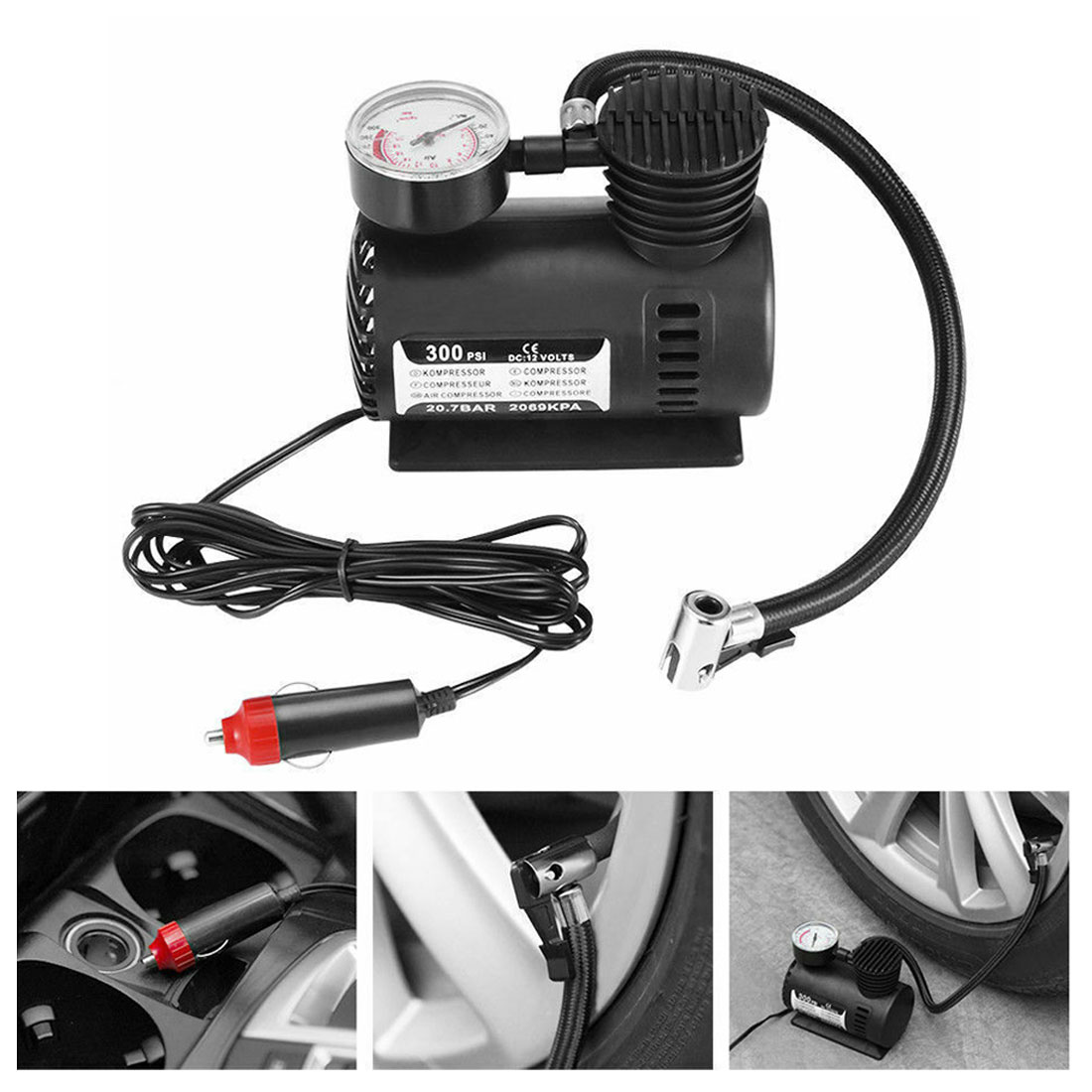 Car Accessories Automotive Durable Vehicle Mini Air Compressor 300 PSI Tire Inflator Pump 12V Car Parts