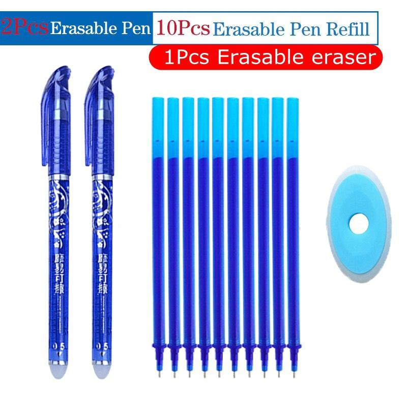 0.5mm Gel Pilot Pen Set Erasable Washable Handle Erasable Pen Refill Rod Blue Ink Magic Pens For School Office Writing Supplies