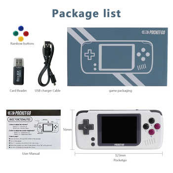 PocketGo, 2.4inch IPS Screen Mini Retro Game Handheld, Open-source with external 8GB Memory Card game console