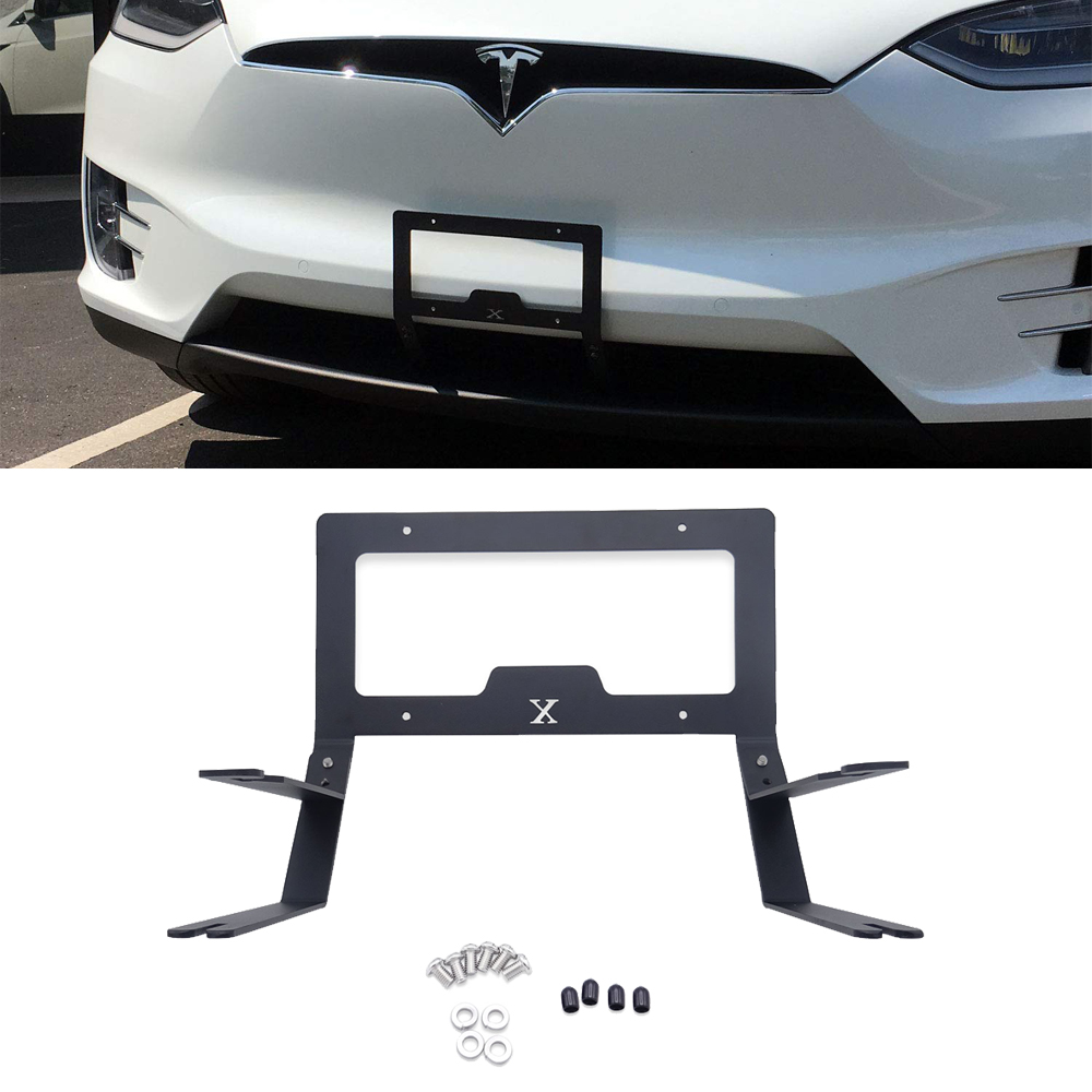 For Tesla Model X Lower Grille Front License Plate Mounting Holder - No Drilling