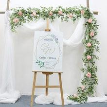 Guirlande artificielle avec Rose suspendue en rotin, 2M, feuille d'eucalyptus, fleurs vertes glycine, vigne, chemin de Table de mariage, décoration de maison