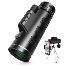 40X60 Monocular Telescope HD Zoom Monocular Binoculars with Smartphone Holde&Tripod FMC BAK4 Weak Night Vision Pocket Telescope