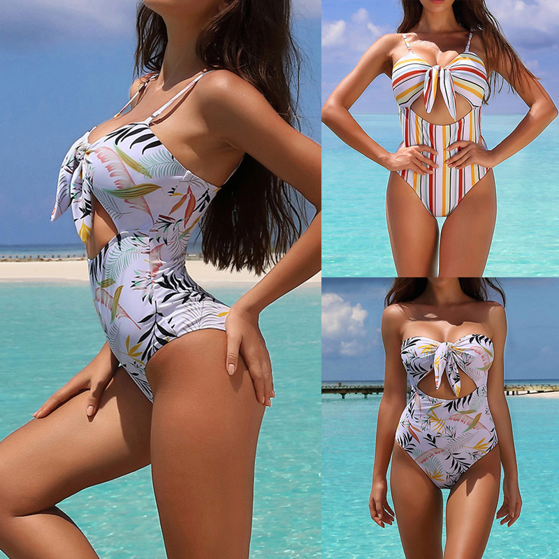 Monokini One Piece Swimsuit For Women Sexy Hollow Out Bikinis Floral Printed Bathing Suits Push Up Striped Cutout Swimwear Beach