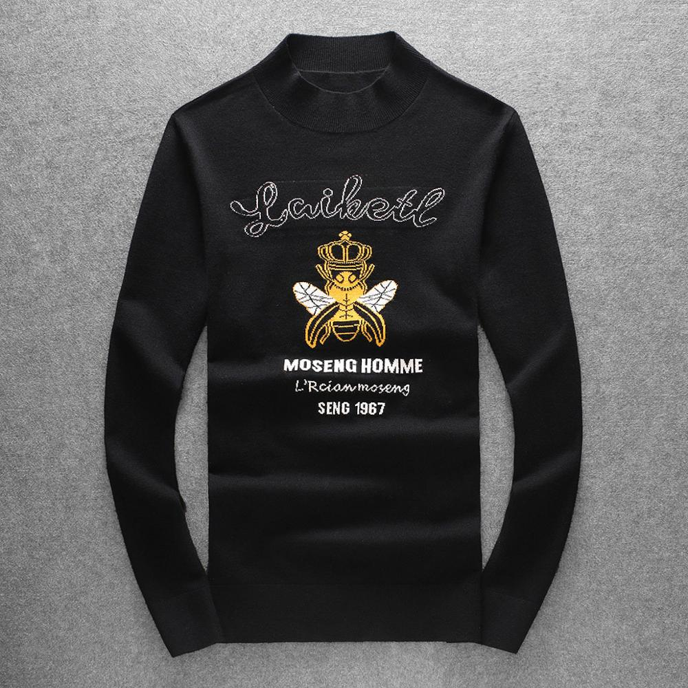 New Kiryaquy Men Luxury Gentleman Cotton Embroidery Bee Crown Letter Casual Sweaters Pullover Asian Plug Size High Drake #N145