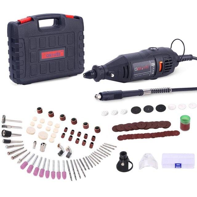 Goxawee mini broca elétrica, máquina de perfuração, com ferramentas elétricas, acessórios