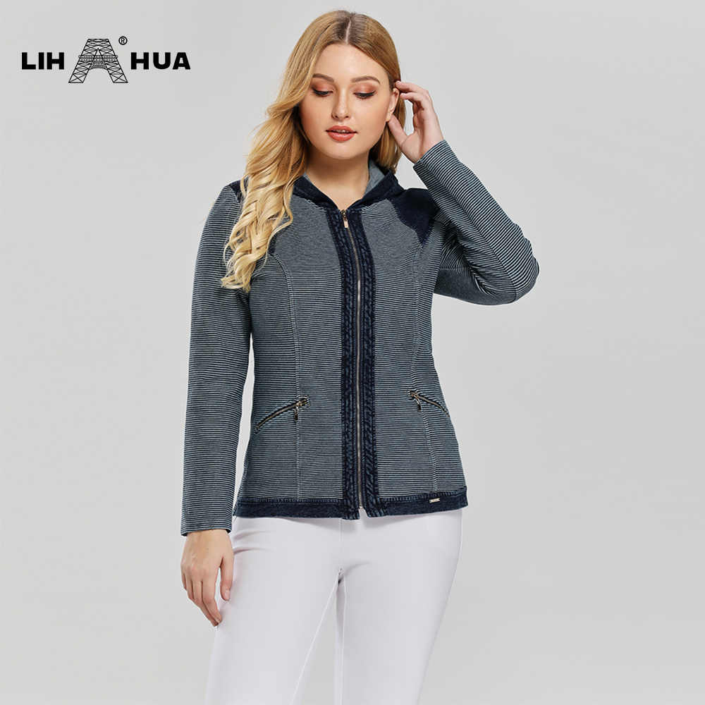 LIH HUA 여성용 플러스 사이즈 캐주얼 데님 자켓 프리미엄 스트레치 니트 데님, 어깨 패드와 모자 포함