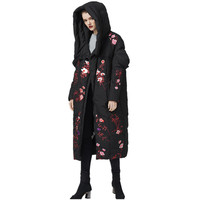 Can fit 30℃ down coats Winter embroidery thicker warm oversize White Duck down coat female X Long thick warm down Parkas F627
