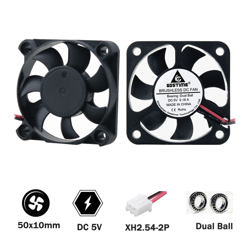 2 pcs GDSTIME 5010 50 * 50 * 10mm <font><b>5V</b></font> cooling <font><b>fan</b></font> 2PIN <font><b>50mm</b></font> 5cm 2inch Industrial laptop dual ball cooling <font><b>fan</b></font> image