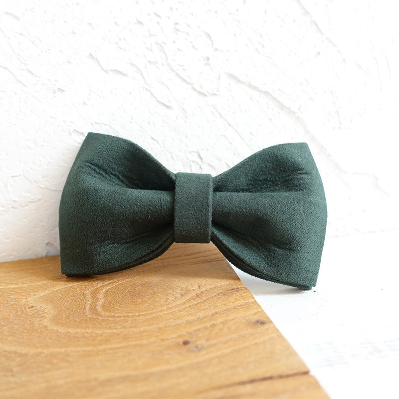 Dark Green Velvet Dog Bowtie Pets Collar Accessory Puppy Cat Pet Supplies Grooming Tools Dogs Dismountable Ornamental Bow Ties