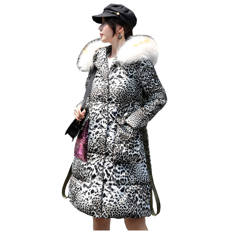 Chic Leopard Printed Fur   Coat   Winter   Down     Coat   Heavy Jacket Oversize Thick Warm Cotton Padded Wadded Parkas Big Pockets