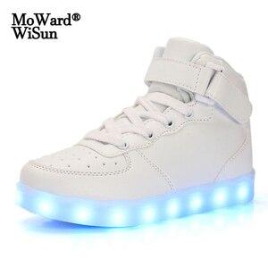 Image 1 - Tamaño 35 44 de los hombres y de las mujeres zapatillas de deporte Zapatos luminosos con Led con luminosa luz única brillante de luz zapatillas con luz Led