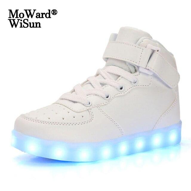 Tamaño 35 44 de los hombres y de las mujeres zapatillas de deporte Zapatos luminosos con Led con luminosa luz única brillante de luz zapatillas con luz Led