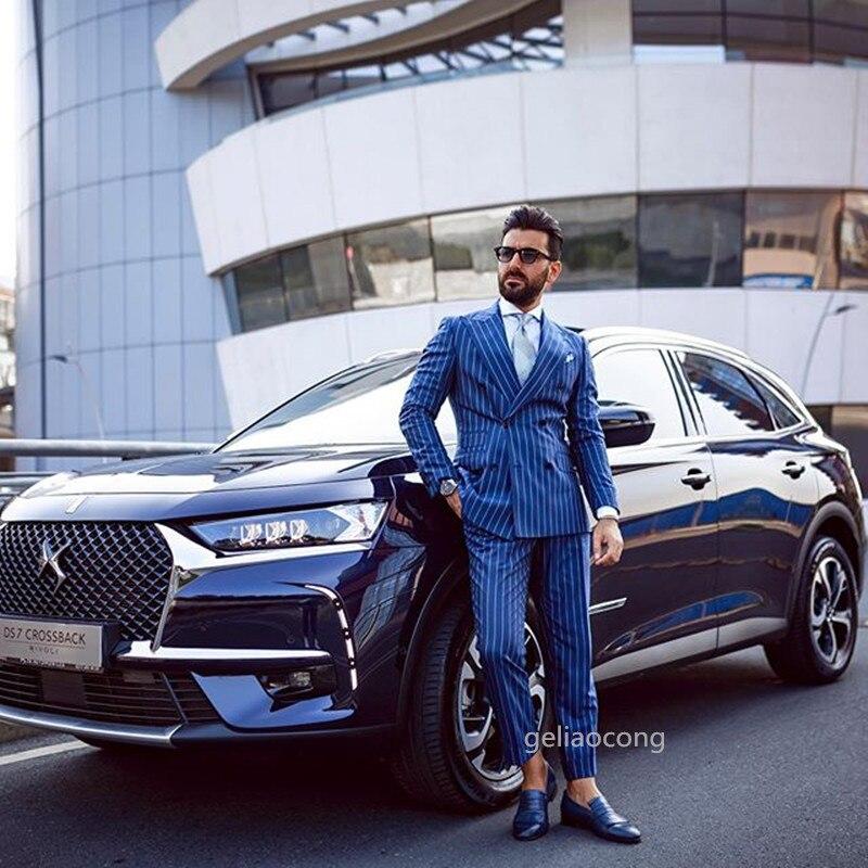 Custom Made Mens Suits Blue Striped 2 Piece Groom Tuxedos Slim Fit Men Wedding Prom Party Suit Peak Lapel Suit(Jacket+Pants+Tie)