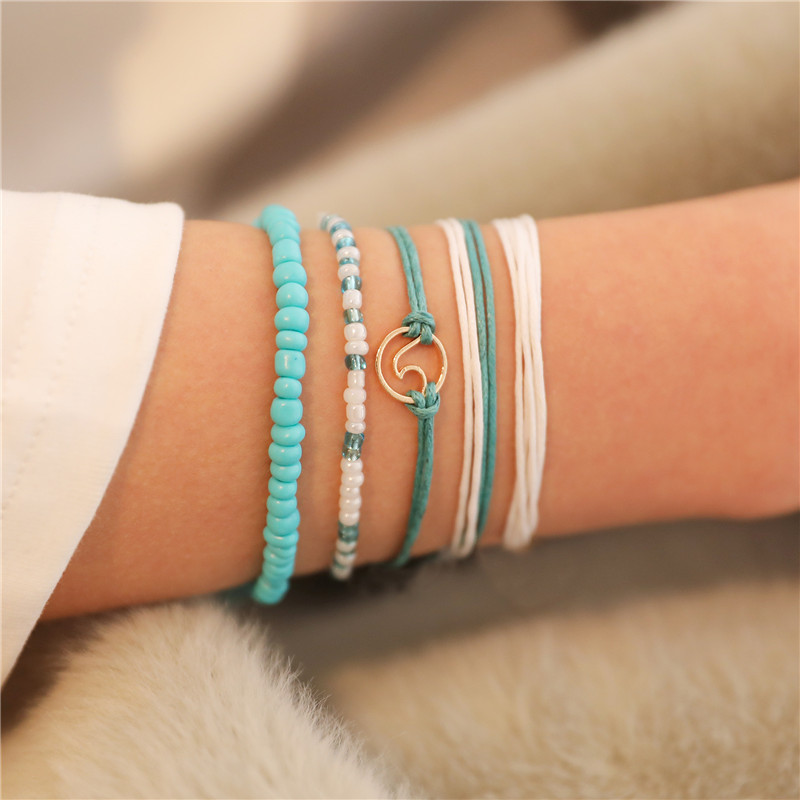 Pulseiras de amizade, 5 pçs/set artesanal onda surf pulseiras para mulheres boêmio azul preto cor quente moda corda ajustável jóias presentes