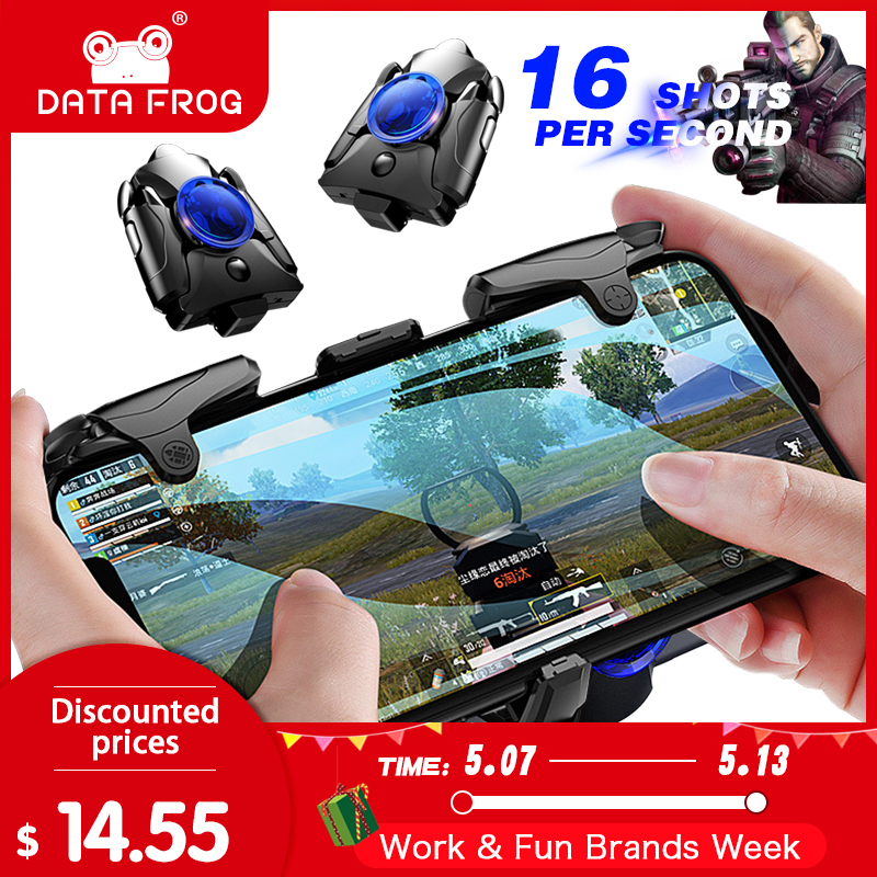DATA FROG Mobile Phone Gaming Trigger for PUBG Gamepad Game Turbo Fire Button 16 Shots Per Second L1R1 Shooter Pubg Controller(China)