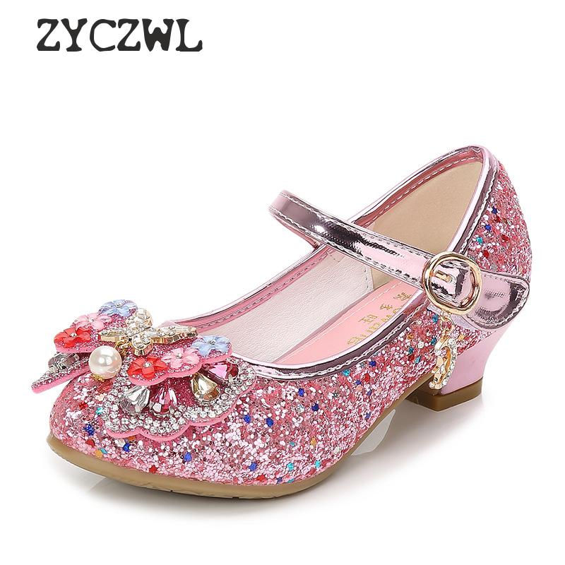 Children Princess Leather Shoes New Girls High Heels Sequin Children's Shoes Small And Medium Girls Princess Shoes Student Shoes