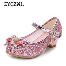 Children Princess Leather Shoes New girls high heels sequin childrens shoes small and medium princess student
