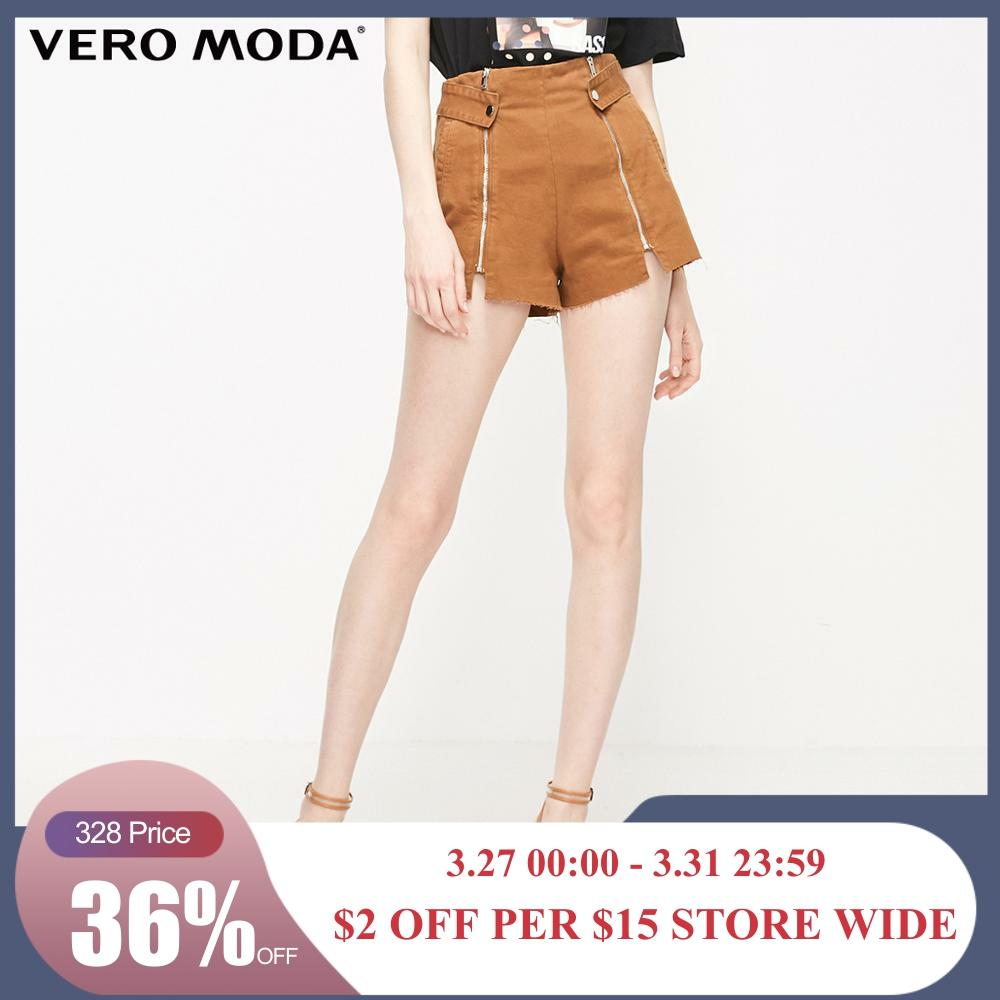 Vero Moda Women's 100% Cotton Decorative Zip Denim Shorts | 319243529