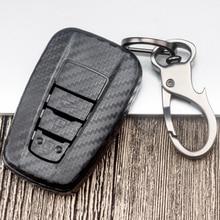 ABS Carbon Fiber Car Key Case Cover For Toyota Camry Prius RAV4 CHR Corolla Avalon Land Cruiser Prado 2 3 4 Button 2018 2019 soft tpu car key case cover keychain for toyota avalon 8 camry 2019 levin ioza chr