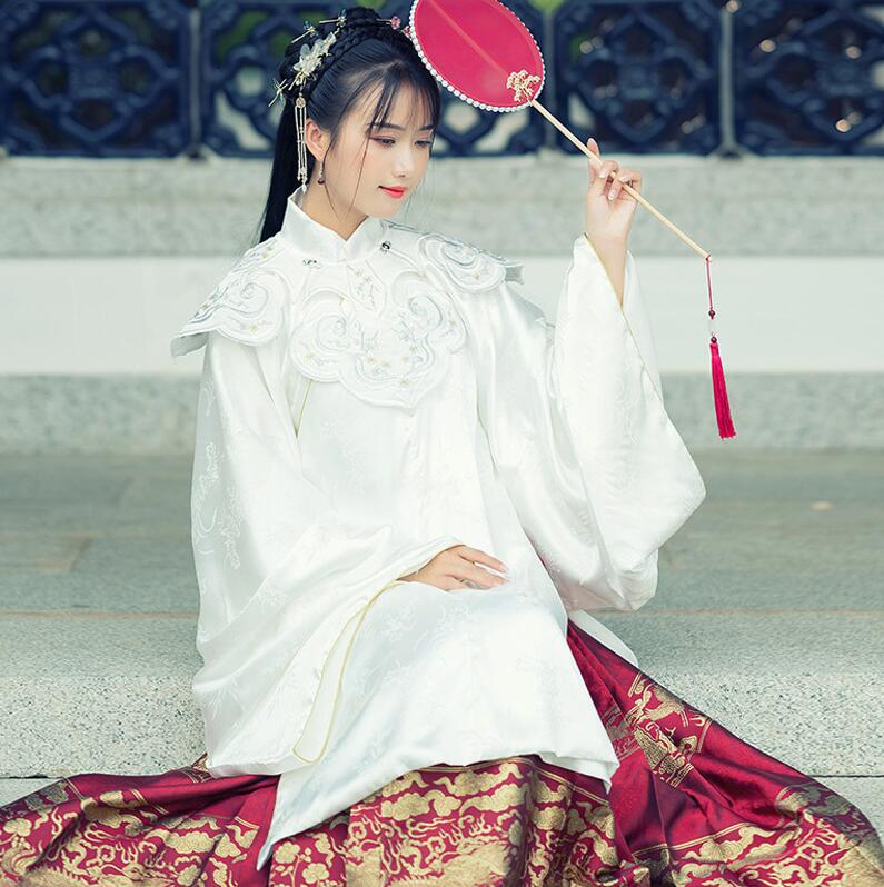 Traditional Acient Chinese HanFu Acquard Embroidery Stand Collar One Piece Horse Faced Pleated Skirt  3 Season Robe+skirt +shawl