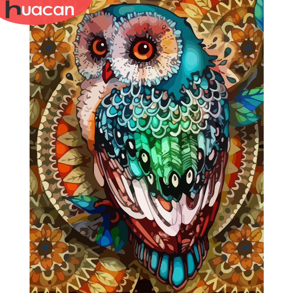 HUACAN Coloring By Numbers Owl Animals Kits Drawing Canvas DIY Pictures Oil Painting Hand Painted Gift Home Decor