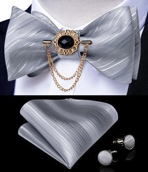 Gray Striped Self Tie Men Silk Jacquard Woven Wedding Bow Handkerchief Brooch Pin Set Party Butterfly Necktie DiBanGu