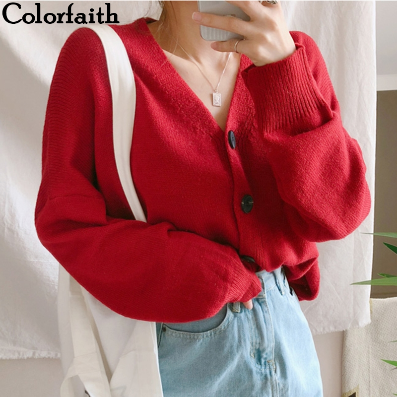 Colorfaith Women's Sweaters Autumn Winter 2019 Cardigans Knitted Button Single Breasted Fashion Korean Style Red Tops SWC5003