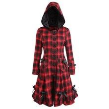 Осеннее женское клетчатое пальто с капюшоном, на пуговицах, с юбкой, готический бант, на шнуровке, длинный карман, женская верхняя одежда Лолита, Тренч, пальто