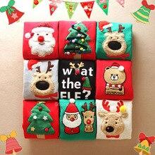 Плотные Рождественские свитера для всей семьи; одинаковые толстовки с капюшоном на год с вышитым рисунком Санта Клауса; пижамы для мамы, папы и детей