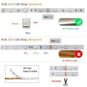 Image 5 - 5m 10m 15m 20m LED Streifen 5050 2835 RGB Streifen LED Licht Flexible Band Streifen DC 12V Weihnachten lichter IR Controller mit Adapter