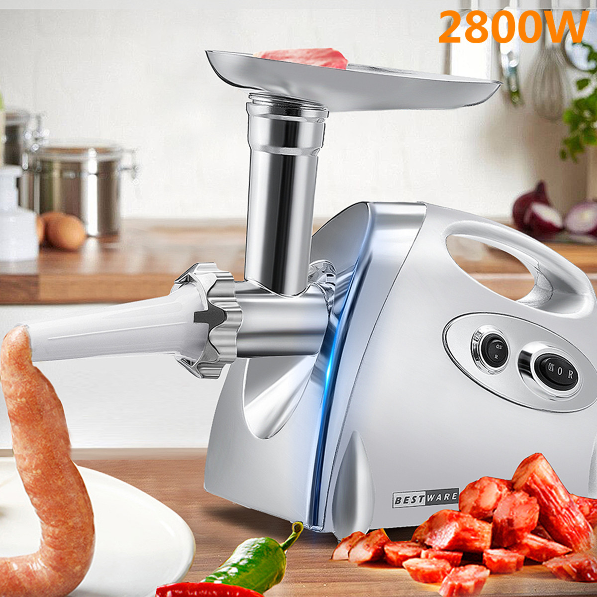2800W Powerful Stainless Steel Electric Meat Grinders Meat Grinder Kitchen Home Sausage Stuffer Meat Mincer Sonifer Heavy Duty