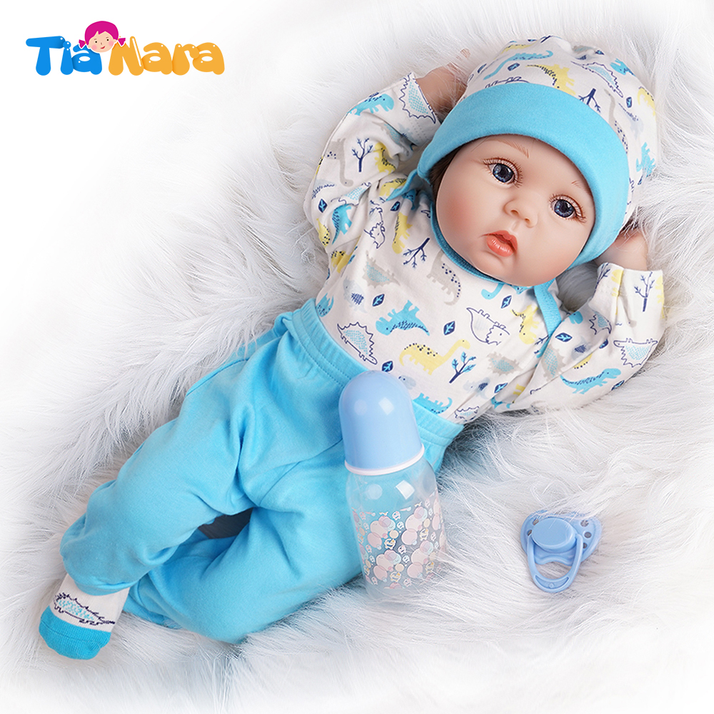 55cm Reborn Baby Doll Bebe Boy Newborn Toy Gift Silicone Vinyl White And Blue Outfit