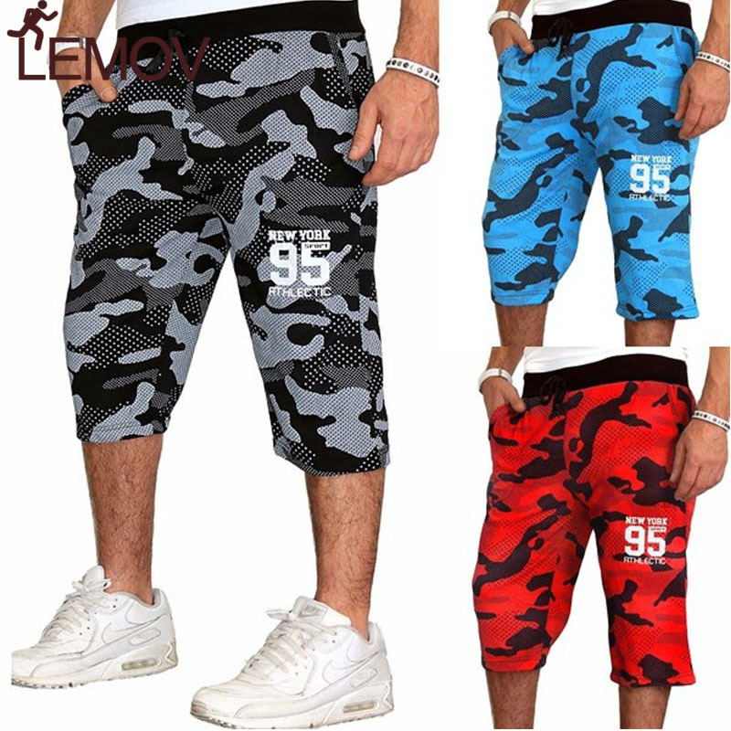 LEMOV Men's Jogging Fitness Shorts Blue Red Camouflage Sport Shorts Sweatpants Running Training Youth 2018 Summer Men Gym Shorts