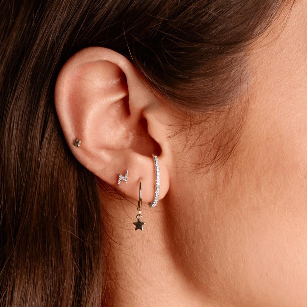 2018 simple lovely girl's earring gift fine 925 sterling silver long cz bar skinny bar classic minimal charming earrings stud