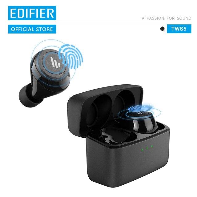 EDIFIER TWS5 Bluetooth V5.0 TWS kulakiçi aptX ses çözme IPX5 su geçirmez dokunmatik kontrol kadar 32hrs çalma süresi kablosuz kulaklık