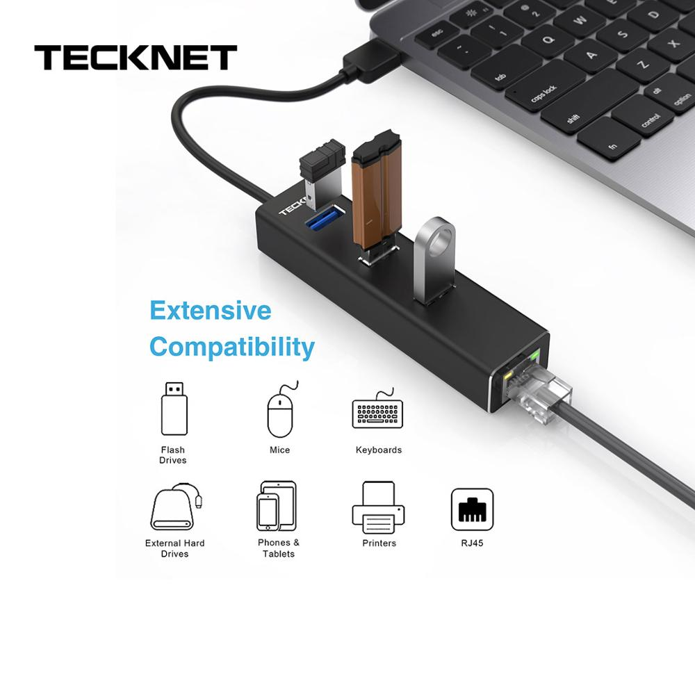 TeckNet Aluminum 3-Port <font><b>USB</b></font> 3.0 Hub with <font><b>RJ45</b></font> 10/100/<font><b>1000</b></font> Gigabit <font><b>Ethernet</b></font> Adapter Converter <font><b>LAN</b></font> Wired <font><b>USB</b></font> Network Adapter image