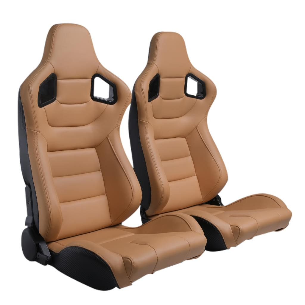Epman 2 X Beige PVC Reclinable Racing Seats Reclinable W/ Slider Universal Fit For Mostly Car Seat JBR1041BG