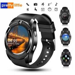 V8 inteligentny zegarek z kartą sim mężczyźni aparat zaokrąglone odbieranie połączeń Dial smartwatch z funkcją dzwonienia na telefony z androidem w Inteligentne zegarki od Elektronika użytkowa na
